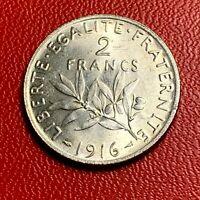 #3793 - RARE - 2 francs 1916 Semeuse Argent SPL - FACTURE