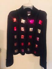 Susan Bristol LTD Women Sweater Black Size L  Zipper Hand Embroidered