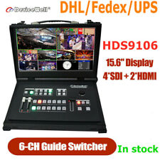 Devicewell HDS9106 Portable Video switcher 6-Channel 4*SDI+2*HDMI with monitor