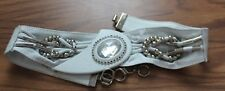 vtg Leo Rexx Corsett Band Wide Leather Belt white with beads & jewels size S ec