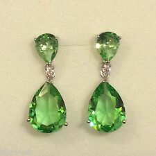 P Designer Large Green Peridot Pear Drop Silver Earrings (white gold GF) BOXED
