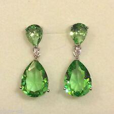 Designer Large Green Peridot Pear Drop Silver Earrings (white gold GF) BOXED