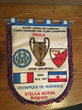 FANION - BARI FINALE COUPE D'EUROPE 1991 MARSEILLE OM / ÉTOILE ROUGE BELGRADE