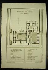 Plan d'une maison grecque Greek house c 1790 d'après Vitruve par Mariette