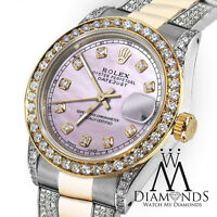 Ladies 26mm Rolex Oyster Perpetual Datejust Pink Color Diamond Accent Dial