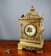 Antique Victorian French Brass mantel horloge par Samuel Marti Bell frappant 8 Jour