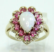 Opal rubellite halo ring yellow gold pear cabochon round 1.70CT sz 6 rope detail