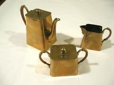Antique Quist Germany Art Deco Brass Miniature Coffee Set Kettle Sugar Creamer