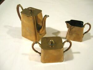 Antique Quist Germany Art Deco Brass Miniature Coffee Set Kettle Sugar Creamer