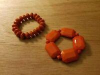 Gorgeous Set of 2 Vintage Bakelite?  Bracelet  Orange / Burnt Orange color