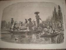 Gli INDIANI messicani tenendo i frutti di mercato 1866 stampa ref c