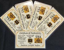 x5 ACB GOLD 1/4GRAIN 24K SOLID BULLION MINTED BAR 9999 FINE CERT/AUTHENTICITY.