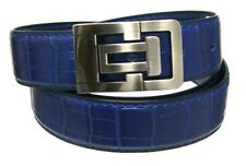 """Men's 1.38"""" Wide Royal Blue Crocodile Embossed Leather Belt with Stylish Buckle"""