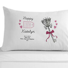 Personalised Gift 18th Birthday Key Pillowcase, Made from White Egyption Cotton