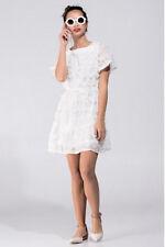 ALLI K  Anthropologie White Silk Petal Scoop Back Ruffle Dress 12 14 L