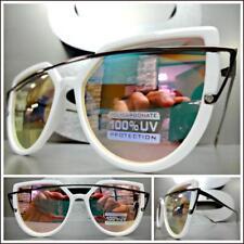 Classy Elegant Funky RETRO Cat Eye Style SUNGLASSES Unique White Frame Pink Lens
