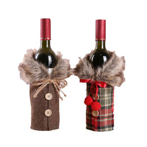 6 Pieces Christmas Wine Bottle Cover,Wine Bottle Decoration Bags,Collar ButtS4I4