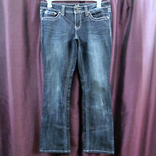 Karma Blue Jeans Distressed Bootcut Flare Boot Silver Trim Embellished Pants 13