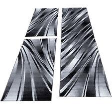 Teppich Bettumrandung 3-teilig Kurzflorset Schlafzimmer Schwarz Weiß meliert