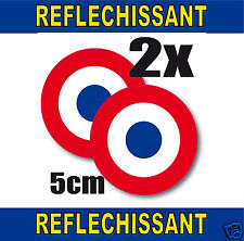 Cocarde RETRO REFLECHISSANTE FRANCE 2 stickers adhésifs rond 5cm lot de 2