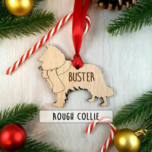 Personalised Dog Wooden Oak Decoration - Christmas Tree gift - Rough Collie