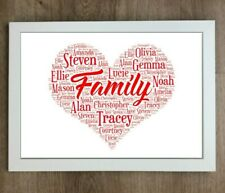 Personalised Family Word Art Engagement Heart Print Present Gift Wedding