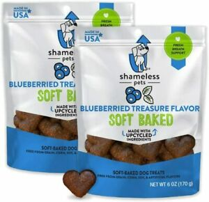 (2 Bags) SHAMELESS PETS Blueberried Treasure Baked Dog Treats | 6 Ounce