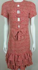 Louis Feraud Vintage Womens Dress Size 6 100% Silk Ruffled Tiered Hem Bow Summer