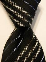 GIORGIO ARMANI Men's 100% Silk Necktie ITALY Luxury STRIPED Black/Gray/Blue EUC