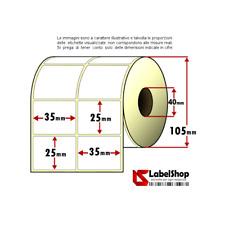 Rotolo da 4000 etichette adesive mm 35x25 Carta Vellum 2 piste anima 40
