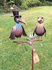 Regenmesser bunte Vögel Hut ArtFerro von Exner Handarbeit Metall Gartenstecker t