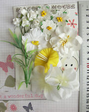 DAFFODIL WHITE & YELLOW 14 Flowers & Roses 3Tones 6Styles PAPER SILK 20-50mm HH5