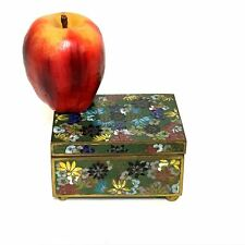 Beautiful Vintage Chinese Cloisonne Footed Trinket Valuables Box