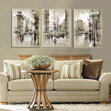 Abstract canvas painting retro city street landscape pictures decorative poster