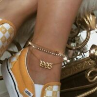 Customized Birthday Year Anklets Gold Old English Year Number Anklet Bracelet