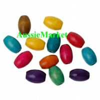50 x wooden wood beads barrel 15mm x 10mm loose spacer mixed colours macrame
