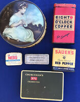 Lot of 6 Vintage Tins: Nebs, Coffee, Red Pepper, Cigarettes, Nail polish, Toffee