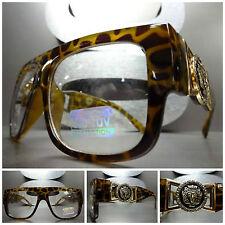 VINTAGE HIP HOP RAPPER GANGSTER PARTY Clear Lens EYE GLASSES Tortoise Gold Frame