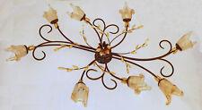 ANTICA PLAFONIERA GRANDE 8 LUCI LED FERRO BATTUTO ART.171 VETRO CRISTALLO MURANO