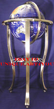 """36"""" Tall Blue Lapis Gemstone World Globe with Silver Floor Stand w 50 ST stone"""