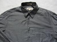 Pronto Uomo Men's Extra Fine 100% Cotton L/S Gray Dress Shirt Size Large