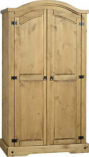 MEXICAN PINE CORONA 2 DOOR DOUBLE CURVED TOP WARDROBE *FREE NEXT DAY DELIVERY
