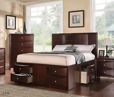 NEW MARCELINE MODERN ESPRESSO FINISH WOOD QUEEN BED w/ UNDER BED DRAWERS