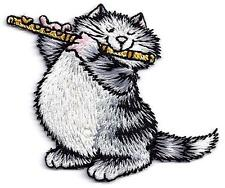 CAT w/FLUTE Iron On Embroidered Patch Pets Animals Cats