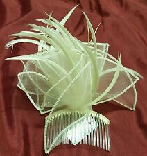 Cream mesh fabric hair comb accented with elegant cream feathers.