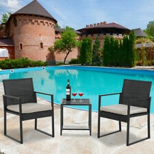 Patio Bistro Set 3 Pieces Outdoor Wicker Chair Patio Rattan Furniture Wicker Con
