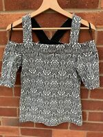 River Island Cold Shoulder Monochrome Black White Top Ladies 10 Short Sleeve