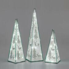 Pyramide 29, 38 o. 47 cm Winterzeit Glas LED-Licht Timer Weihnachtsdeko formano