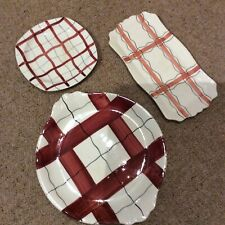 More details for 3 x 1950s gingham pattern plates, midwinter meakin, empire harlequinade style