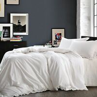 NTBAY Linen 3 Piece White Duvet Cover Set with Exquisite Ruffles, Breathable